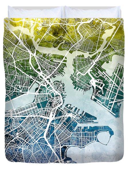 Boston Massachusetts Street Map Duvet Cover