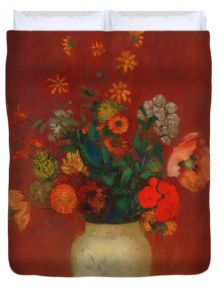 Duvet Cover featuring the painting Bouquet In A Chinese Vase by Odilon Redon