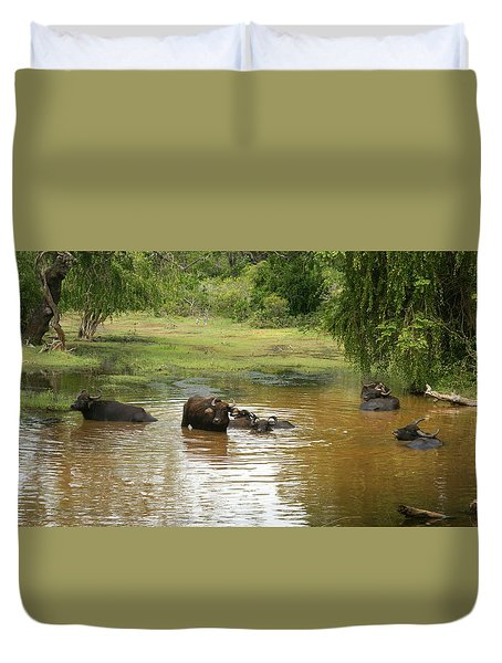 Duvet Cover featuring the photograph Buffalos by Christian Zesewitz
