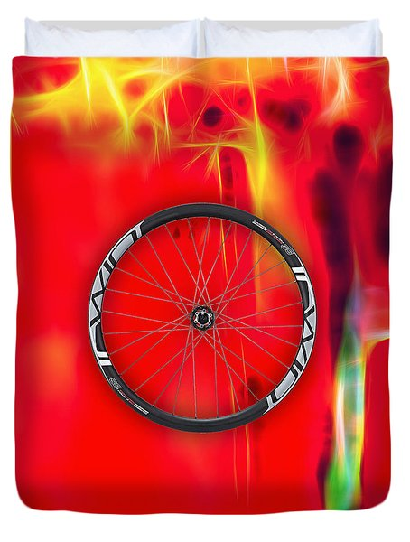Carbon Fiber Bicycle Wheel Collection Duvet Cover