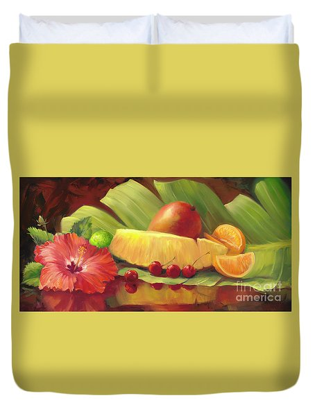 4 Cherries Duvet Cover by Laurie Hein