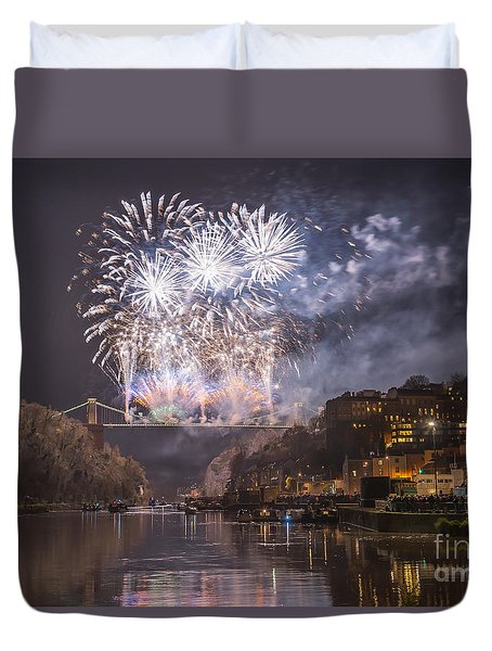 Clifton Suspension Bridge Fireworks Duvet Cover