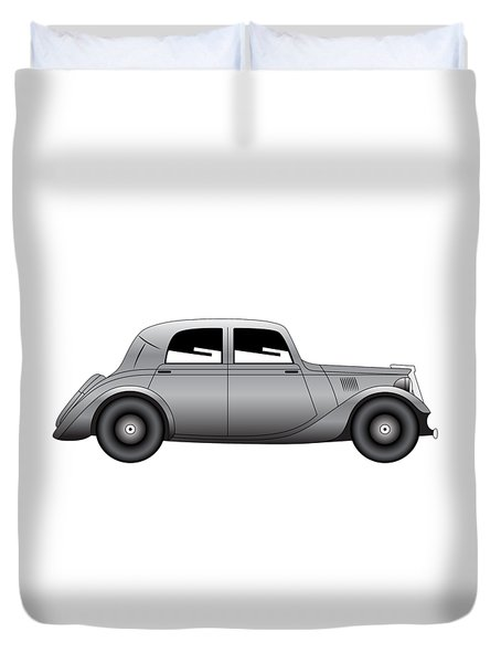 Duvet Cover featuring the digital art Coupe - Vintage Model Of Car by Michal Boubin