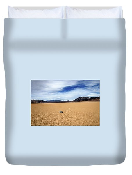 Duvet Cover featuring the photograph Death Valley Racetrack by Breck Bartholomew