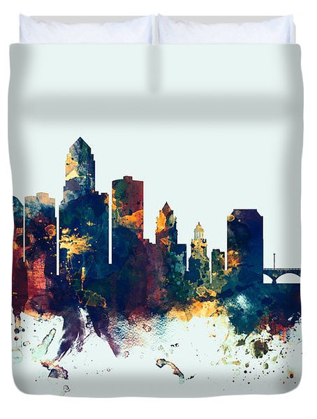 Des Moines Iowa Skyline Duvet Cover