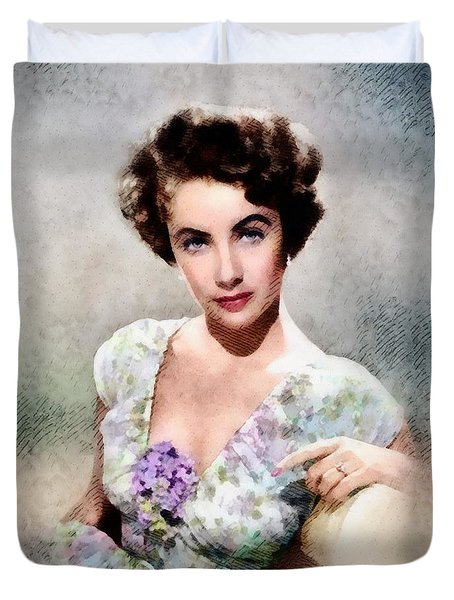 Elizabeth Taylor, Vintage Hollywood Legend Duvet Cover