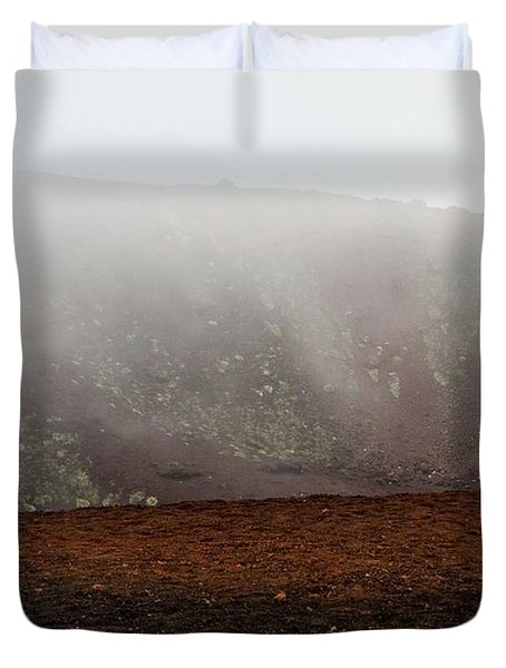 Etna, Red Mount Crater Duvet Cover
