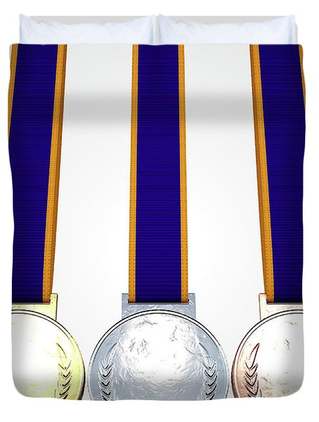 First Second And Third Medals Duvet Cover