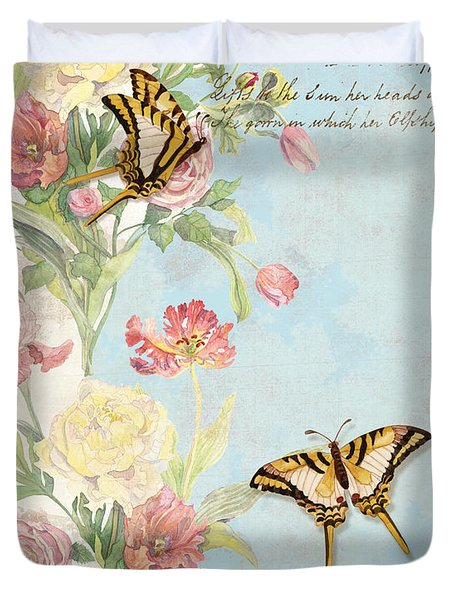 Fleurs De Pivoine - Watercolor W Butterflies In A French Vintage Wallpaper Style Duvet Cover
