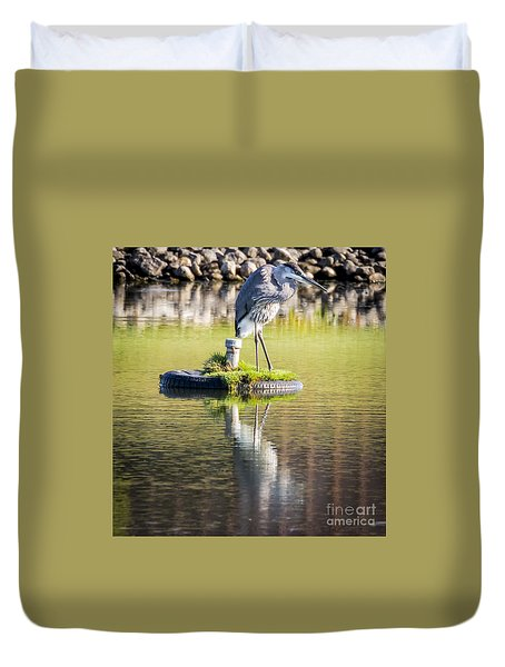 Duvet Cover featuring the photograph Great Blue Heron by Ricky L Jones