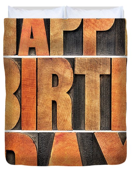 Happy Birthday Greeting Card Duvet Cover