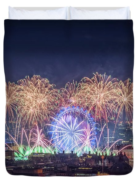 Happy New Year London Duvet Cover