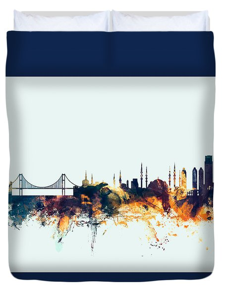 Istanbul Turkey Skyline Duvet Cover