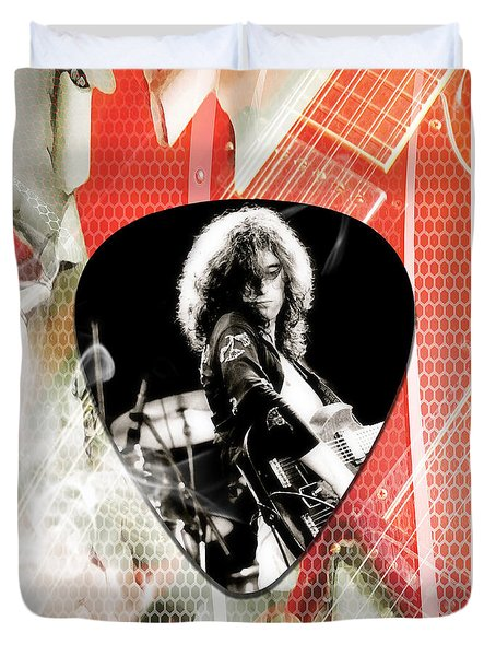 Jimmy Page Led Zeppelin Art Duvet Cover by Marvin Blaine