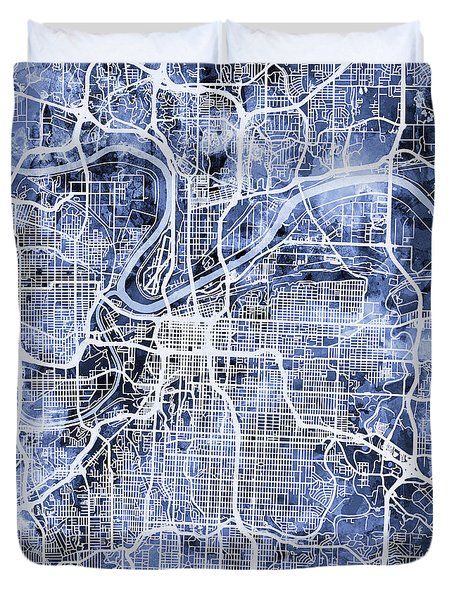 Kansas City Missouri City Map Duvet Cover