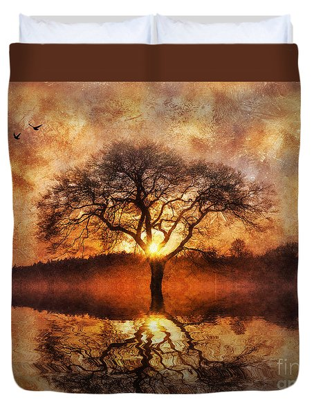 Duvet Cover featuring the digital art Lone Tree by Ian Mitchell