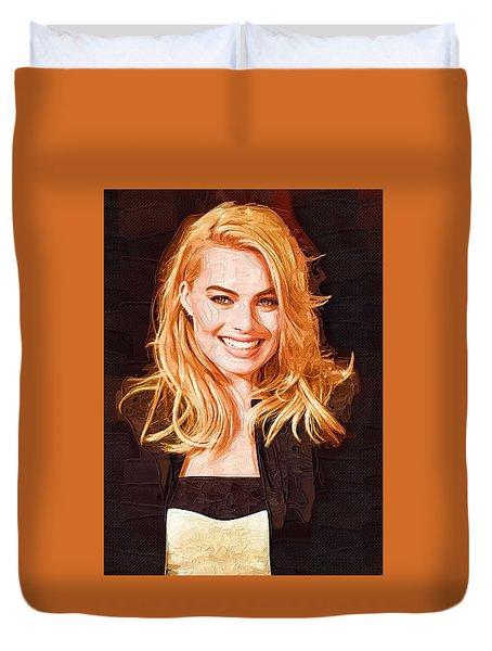 Margot Robbie Painting Duvet Cover by Best Actors