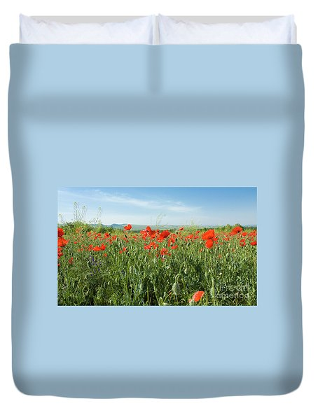Meadow With Red Poppies Duvet Cover