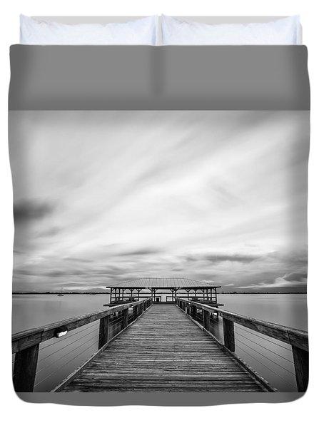Melbourne Beach Pier Sunset Duvet Cover