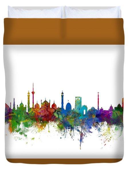 New Delhi India Skyline Duvet Cover