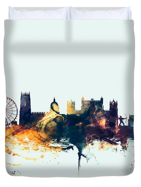 Nottingham England Skyline Duvet Cover