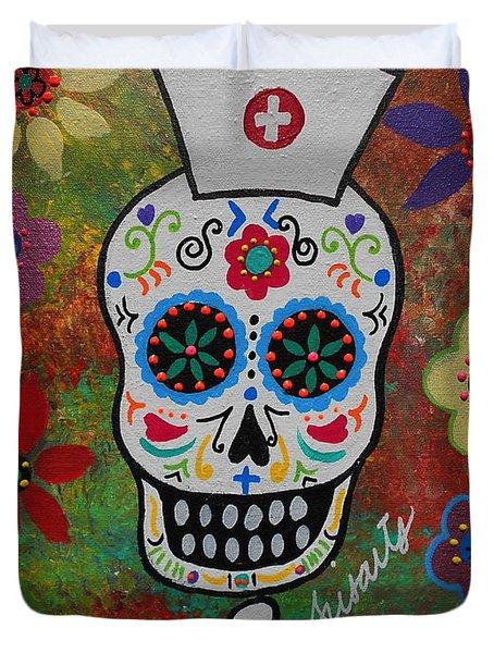 Nurse Dia De Los Muertos Duvet Cover