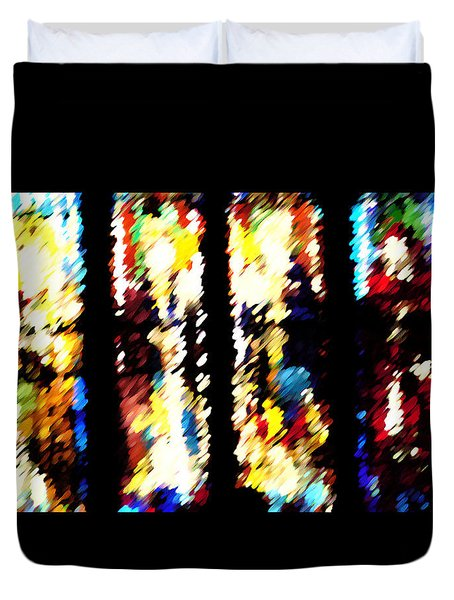 Duvet Cover featuring the digital art 4 Panels Of Seville Abstract by Donna Corless