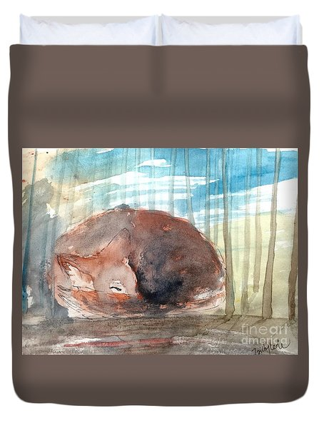 Duvet Cover featuring the painting Peace by Trilby Cole
