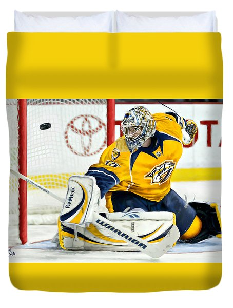 Duvet Cover featuring the digital art Pekka Rinne by Don Olea
