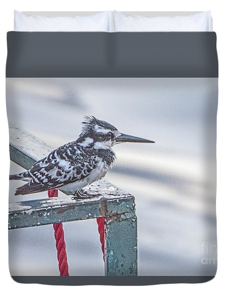 Duvet Cover featuring the photograph Pied Kingfisher by Pravine Chester