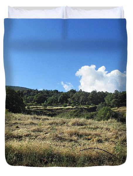 Field In Pitres Duvet Cover