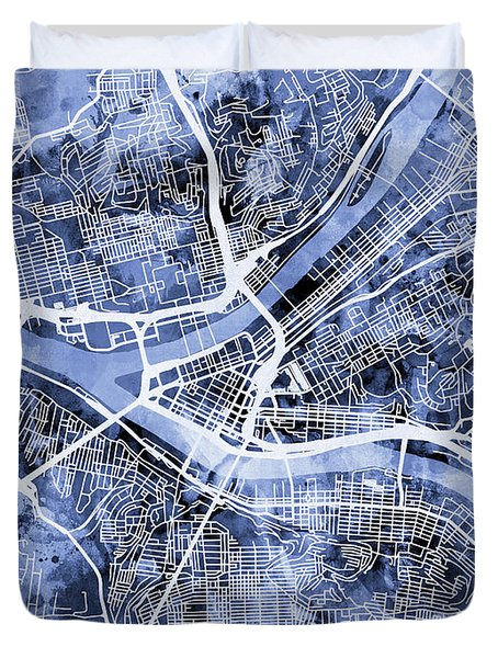 Pittsburgh Pennsylvania Street Map Duvet Cover