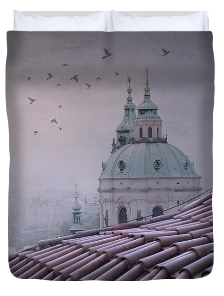 Prague Roof Tops Duvet Cover