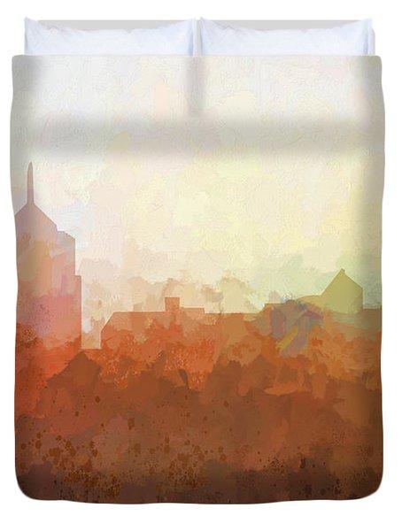 Duvet Cover featuring the digital art Roanoke Virginia Skyline by Marlene Watson