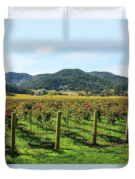 Rows Of Grapevines In Napa Valley California Duvet Cover