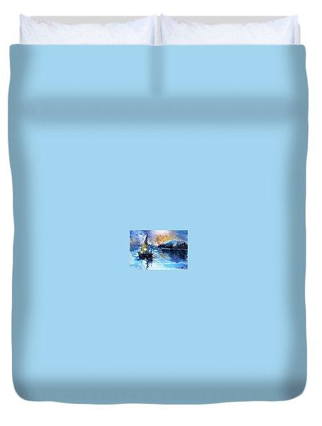 Duvet Cover featuring the painting Sailboat by Kovacs Anna Brigitta