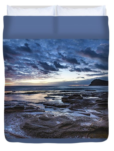 Seascape Cloudy Nightscape Duvet Cover