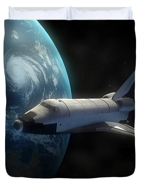 Space Shuttle Backdropped Against Earth Duvet Cover by Carbon Lotus