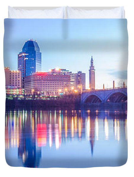 Springfield Massachusetts City Skyline Early Morning Duvet Cover