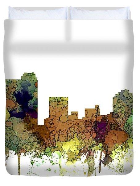 Duvet Cover featuring the digital art St Petersburg Florida Skyline by Marlene Watson