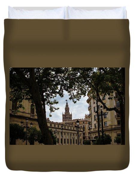 Streets Of Seville - Giralda From Plaza Nueva Duvet Cover by Andrea Mazzocchetti