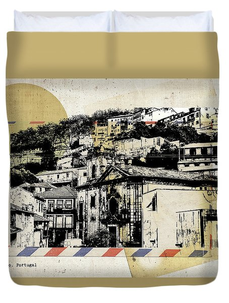 Duvet Cover featuring the digital art stylish retro postcard of Porto  by Ariadna De Raadt