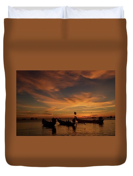 Sunrise On Koh Tao Island In Thailand Duvet Cover