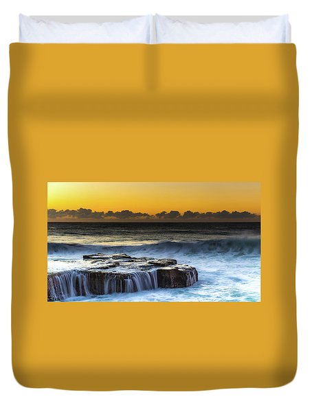 Sunrise Seascape With Cascades Over The Rock Ledge Duvet Cover