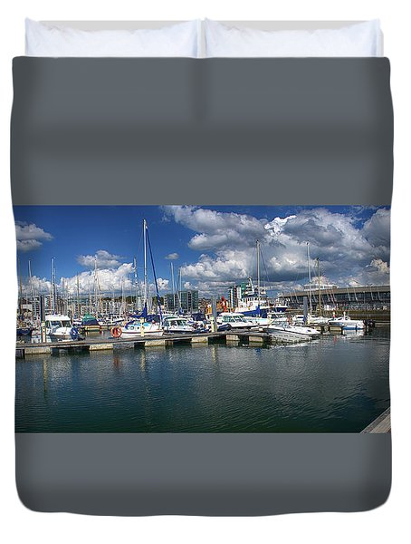 Sutton Harbour Plymouth Duvet Cover by Chris Day