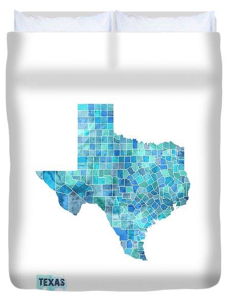 Texas Watercolor Map Duvet Cover by Michael Tompsett