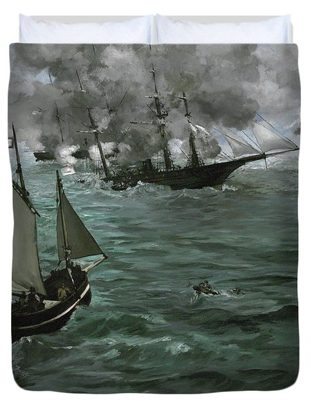 The Battle Of The U.s.s. Kearsarge And The C.s.s. Alabama Duvet Cover