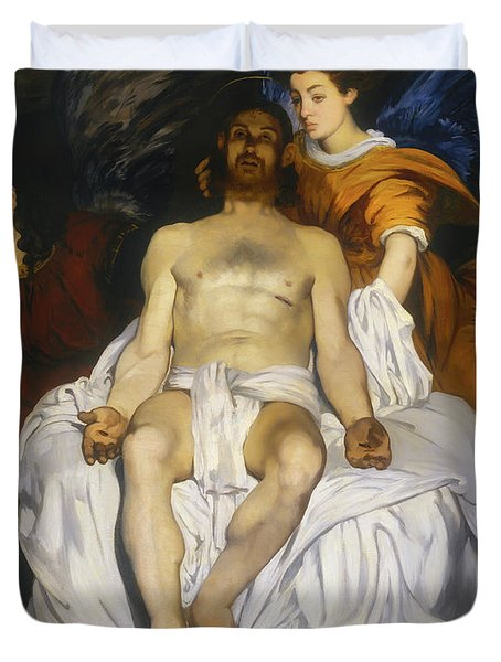 Duvet Cover featuring the painting The Dead Christ With Angels by Edouard Manet