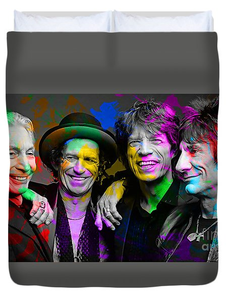Duvet Cover featuring the digital art The Rolling Stones by Marvin Blaine