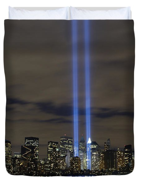 The Tribute In Light Memorial Duvet Cover by Stocktrek Images